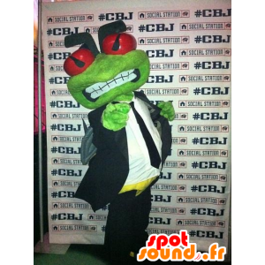 La mascota de la rana verde en un traje y corbata