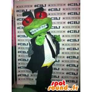 Mascot grünen Frosch in einem Anzug und Krawatte - MASFR21913 - Maskottchen-Frosch