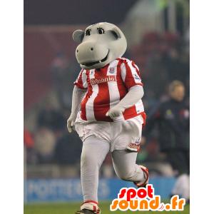 Mascotte d'hippopotame gris en tenue de sport