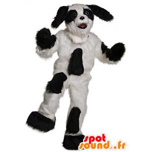 Hond mascotte zwart en wit, alle harige - MASFR21918 - Dog Mascottes