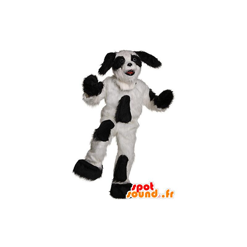 Hund Maskottchen schwarz und weiß und behaart - MASFR21918 - Hund-Maskottchen