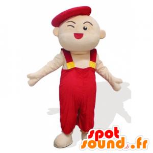 Mascot man, child, artist, in red overalls - MASFR21927 - Mascots child