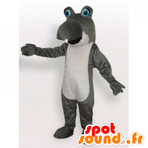 Mascot divertente grigio e squalo bianco - MASFR21941 - Squalo mascotte