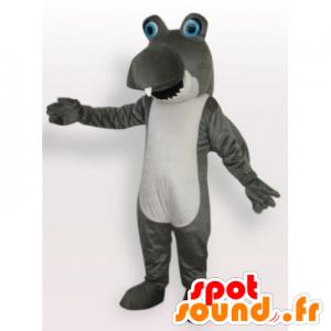 Mascot gris divertida y tiburón blanco