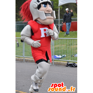 Knight mascot, wearing a red and gray armor