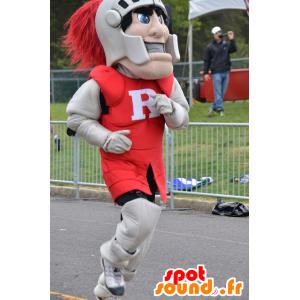 Ritter-Maskottchen, bekleidet mit einem roten und grauen Rüstung