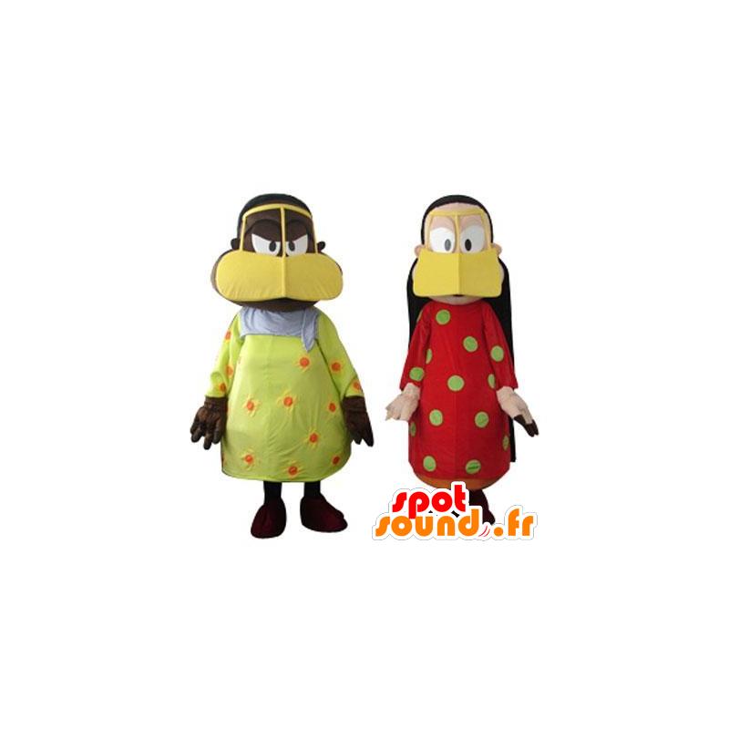 2 mascots oriental women, colorful - MASFR21945 - Mascots woman