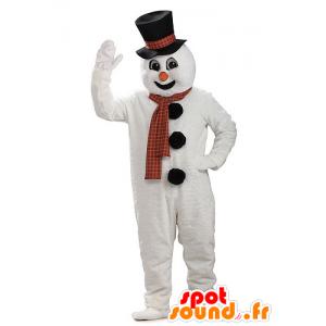 Mascotte de bonhomme de neige géant, avec un chapeau