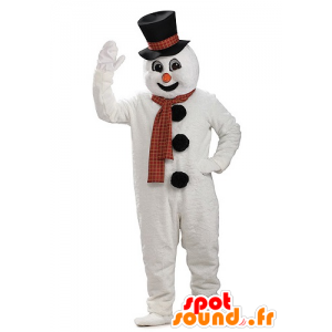 Snowman mascot giant snow with a hat