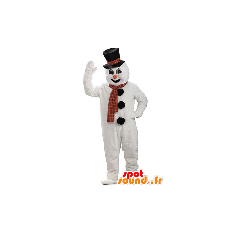 Mascotte de bonhomme de neige géant, avec un chapeau - MASFR21948 - Mascottes Noël
