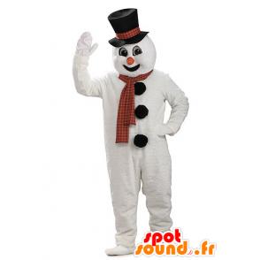 Schneemann-Maskottchen riesigen Schnee mit einem Hut - MASFR21948 - Weihnachten-Maskottchen