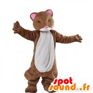 Mascotte de furet marron et blanc, de hamster