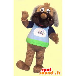Brown Hund Maskottchen, mit einem bunten Hemd - MASFR21958 - Hund-Maskottchen