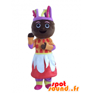 Mascot African woman in colorful outfit - MASFR21959 - Mascots woman