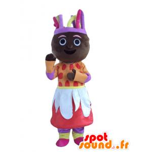 Mascot afrikanische Frau in der bunten Ausstattung - MASFR21959 - Maskottchen-Frau