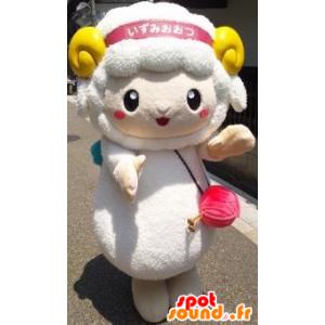 Mascotte de mouton blanc avec des cornes jaunes