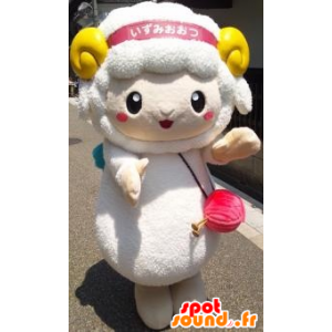 White sheep mascot with yellow horns