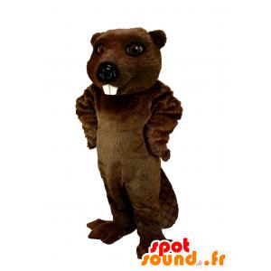 Mascotte de castor marron, très réaliste