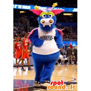 Blue dragon mascot, pink and yellow, all hairy - MASFR21971 - Dragon mascot