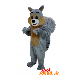Mascot brown and gray squirrel, giant hairy
