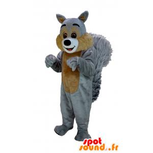 Maskotti ruskea ja harmaa orava, jättiläinen karvaisia