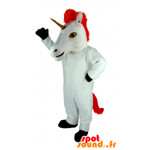 White unicorn mascot and red giant