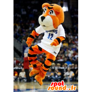 Oranssi tiikeri maskotti, mustavalkoinen - MASFR22006 - Tiger Maskotteja