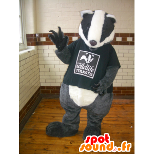 Mascot grå taupe, svart og hvit, gigantiske