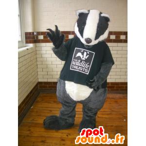 Mascot grijze taupe, zwart en wit, reuze