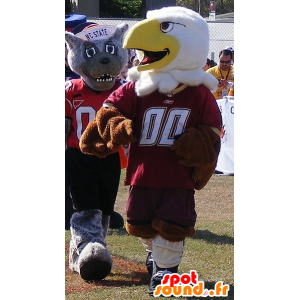 2 mascots, a brown and white eagle, and a gray wolf - MASFR22018 - Mascots Wolf
