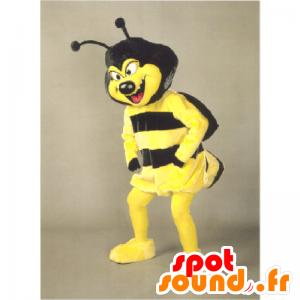 Mascotte gele en zwarte wesp met een ondeugende lucht