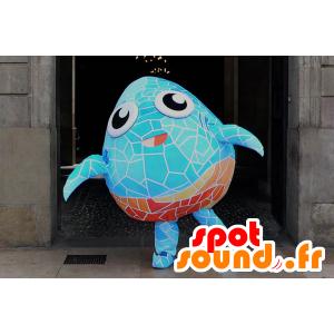Mascot pesce abbastanza blu e arancio con mosaici