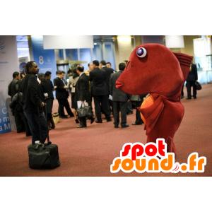 Mascotte de gros poisson rouge et orange