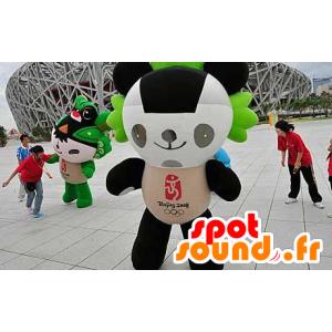 Mascotte de panda noir, blanc et vert
