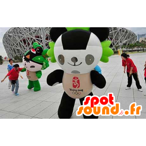 Mascotte panda nero, bianco e verde