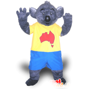 Gray koala mascot in blue and yellow dress