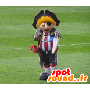 Blond pirate mascot with a sports outfit and hat - MASFR22042 - Mascottes de Pirate