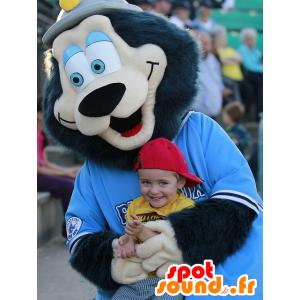 Maskotti Black Bear tahansa karvainen, sinisilmäinen - MASFR22046 - Bear Mascot