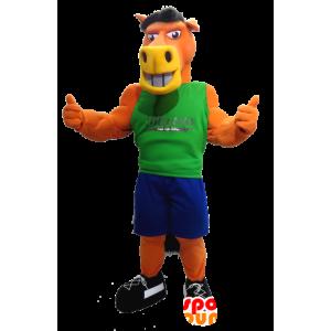 Orange Horse Mascot, med en blå og grønn outfit