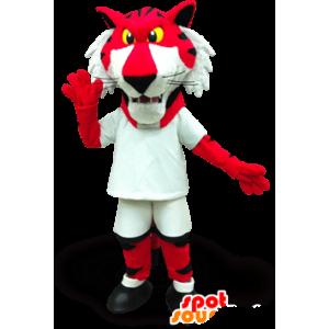 Mascot rode en witte tijger met gele ogen - MASFR22050 - Tiger Mascottes