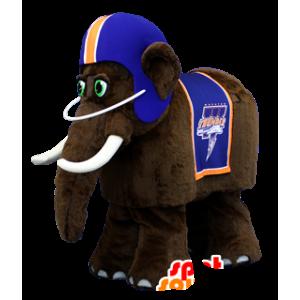Brązowy mamut maskotka, z niebieskim kasku