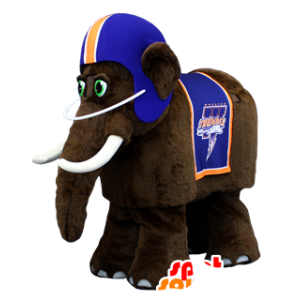 Brown mammoth mascot, a blue helmet