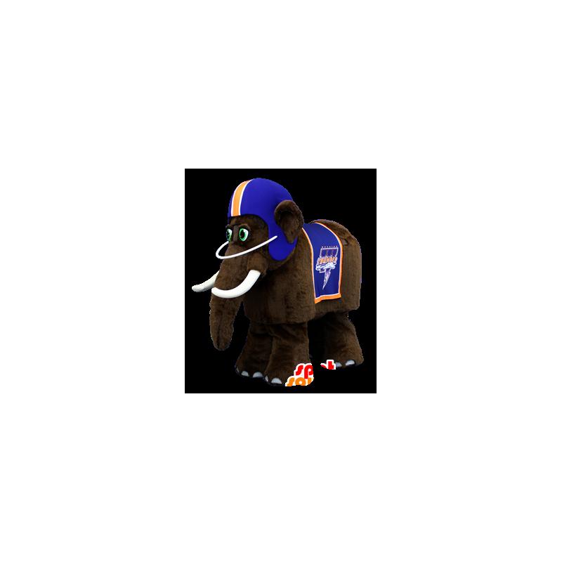 Mascotte de mammouth marron, avec un casque bleu - MASFR22051 - Mascottes animaux disparus