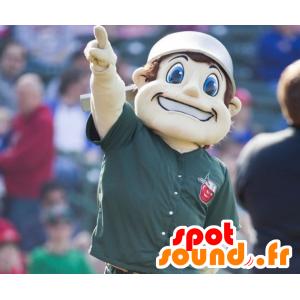 Mascot gutt med blå øyne, med en pott på hodet
