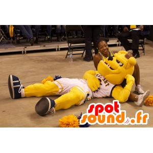 Dog mascot, yellow bulldog, in sportswear - MASFR22065 - Dog mascots
