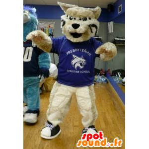 Beige Katze Maskottchen, Riesenhund - MASFR22066 - Hund-Maskottchen