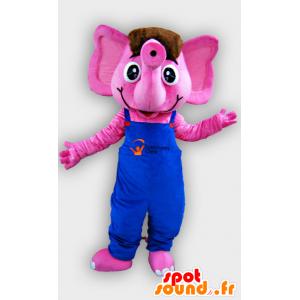 Mascote elefante rosa com macacão azul