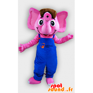Maskotka różowy słoń z niebieskim kombinezonie
