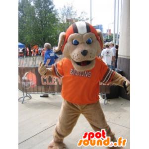 Brązowy pies maskotka z hełmem i pomarańczowej koszuli - MASFR22074 - dog Maskotki