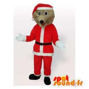 Mascotte d'ours marron habillé en père Noël - MASFR006490 - Mascotte d'ours